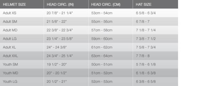 Hunter Valley Motorsports Helmet Size Chart